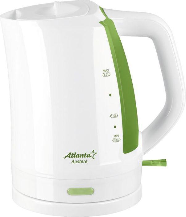 Atlanta ATH-617, Green чайник электрический77.858@21609Электрический чайник Atlanta ATH-617 прост в управлении и долговечен в использовании. Изготовлен из высококачественных материалов. Мощность 2000 Вт позволит вскипятить 1,7 литра воды в считанные минуты. Беспроводное соединение позволяет вращать чайник на подставке на 360°. Для обеспечения безопасности при повседневном использовании предусмотрены функция автовыключения, а также защита от включения при отсутствии воды.