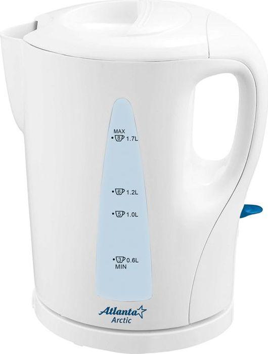 Atlanta ATH-2301, White чайник электрический77.858@25749Электрический чайник Atlanta ATH-2301 прост в управлении и долговечен в использовании. Изготовлен из высококачественных материалов. Мощность 2000 Вт позволит вскипятить 1,7 литра воды в считанные минуты. Для обеспечения безопасности при повседневном использовании предусмотрены функция автовыключения, а также защита от включения при отсутствии воды.