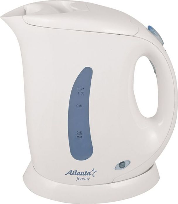 Atlanta ATH-727, White чайник электрический77.858@20829Современный дизайнАвтоматическое отключение при закипанииЗащита от перегрева без водыОбъем 1 литрСветовой индикатор работыБыстрое закипаниеЭлектрошнур в цокольной подставкеМощность 900 Вт220-240 В, 50-60 Гц21 x 12.5 x 21 см