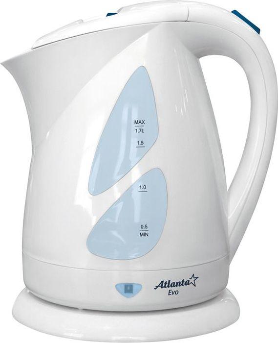 Atlanta ATH-643, White чайник электрический77.858@20031Электрический чайник Atlanta ATH-643 прост в управлении и долговечен в использовании. Изготовлен из высококачественных материалов. Мощность 2000 Вт позволит вскипятить 1,7 литра воды в считанные минуты. Беспроводное соединение позволяет вращать чайник на подставке на 360°. Для обеспечения безопасности при повседневном использовании предусмотрены функция автовыключения, а также защита от включения при отсутствии воды.