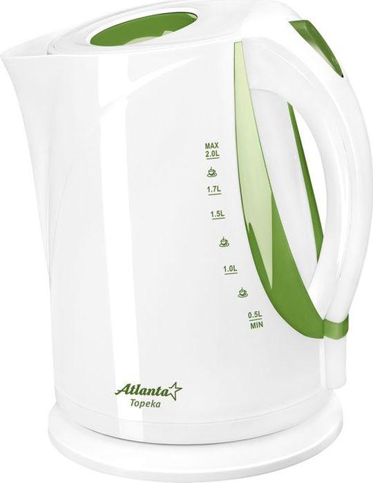 Atlanta ATH-2373, White Green чайник электрический77.858@23179Электрический чайник Atlanta ATH-2373 прост в управлении и долговечен в использовании. Изготовлен из высококачественных материалов. Мощность 2000 Вт позволит вскипятить 2 литра воды в считанные минуты. Беспроводное соединение позволяет вращать чайник на подставке на 360°. Для обеспечения безопасности при повседневном использовании предусмотрены функция автовыключения, а также защита от включения при отсутствии воды.