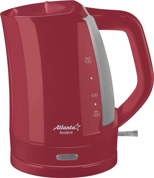 Atlanta ATH-617, Red чайник электрический77.858@21611Электрический чайник Atlanta ATH-617 прост в управлении и долговечен в использовании. Изготовлен из высококачественных материалов. Мощность 2000 Вт позволит вскипятить 1,7 литра воды в считанные минуты. Беспроводное соединение позволяет вращать чайник на подставке на 360°. Для обеспечения безопасности при повседневном использовании предусмотрены функция автовыключения, а также защита от включения при отсутствии воды.