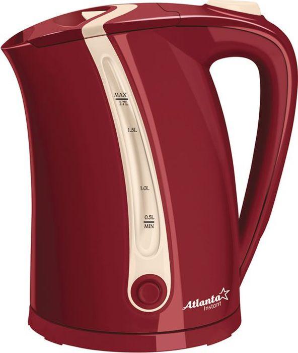 Atlanta ATH-660, Red чайник электрический77.858@18009Электрический чайник Atlanta ATH-660 с возможностью поддержание температуры прост в управлении и долговечен в использовании. Изготовлен из высококачественных материалов. Мощность 2000 Вт позволит вскипятить 1,7 литра воды в считанные минуты. Беспроводное соединение позволяет вращать чайник на подставке на 360°. Для обеспечения безопасности при повседневном использовании предусмотрены функция автовыключения, а также защита от включения при отсутствии воды.