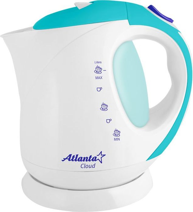 Atlanta ATH-630, White Blue чайник электрический77.858@21022Электрический чайник Atlanta ATH-630 прост в управлении и долговечен в использовании. Изготовлен из высококачественных материалов. Мощность 2000 Вт позволит вскипятить 2 литра воды в считанные минуты. Беспроводное соединение позволяет вращать чайник на подставке на 360°. Для обеспечения безопасности при повседневном использовании предусмотрены функция автовыключения, а такжезащита от включения при отсутствии воды.