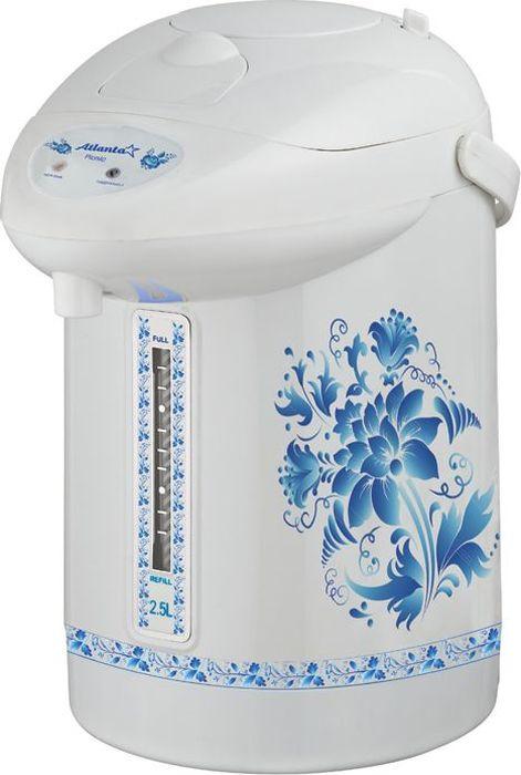 Atlanta ATH-2650, Blue термопот77.858@268712,8-литровый термопот Atlanta ATH-2650 с ручным насосом для безопасной подачи кипятка.Два режима работы - автокипячение и поддержание температуры позволяют использовать термопот с наименьшими энергозатратами, при этом теплая вода или кипяток остаются всегда под рукой.Шкала уровня воды на корпусе позволяет легко определить необходимость наполнения термопота водой, а LED-индикаторы режимов работы - проконтролировать его состояние.Термопот оснащен такими функциями безопасности как автоматическое отключение при закипании и отключение при недостаточном количестве воды.