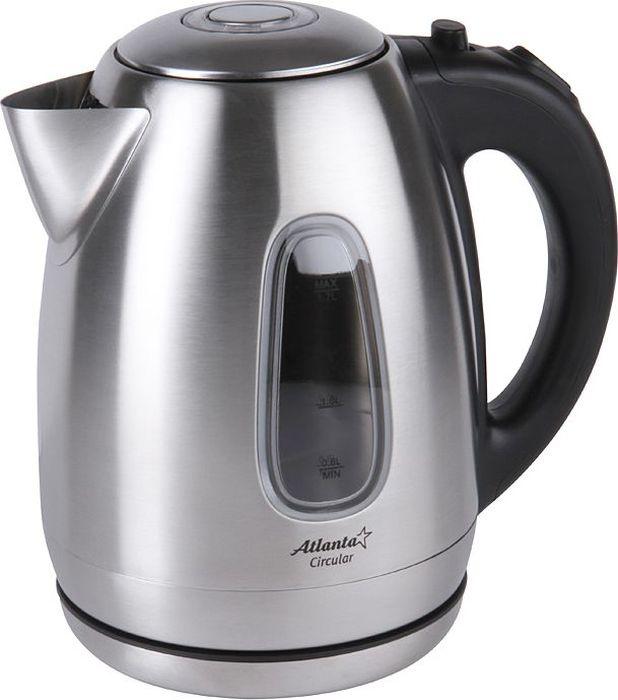 Atlanta ATH-2426, Silver Black чайник электрический77.858@27172Электрический чайник Atlanta ATH-2426 прост в управлении и долговечен в использовании. Изготовлен из высококачественных материалов. Мощность 2000 Вт позволит вскипятить 1,7 литра воды в считанные минуты. Беспроводное соединение позволяет вращать чайник на подставке на 360°. Для обеспечения безопасности при повседневном использовании предусмотрены функция автовыключения, а также защита от включения при отсутствии воды.