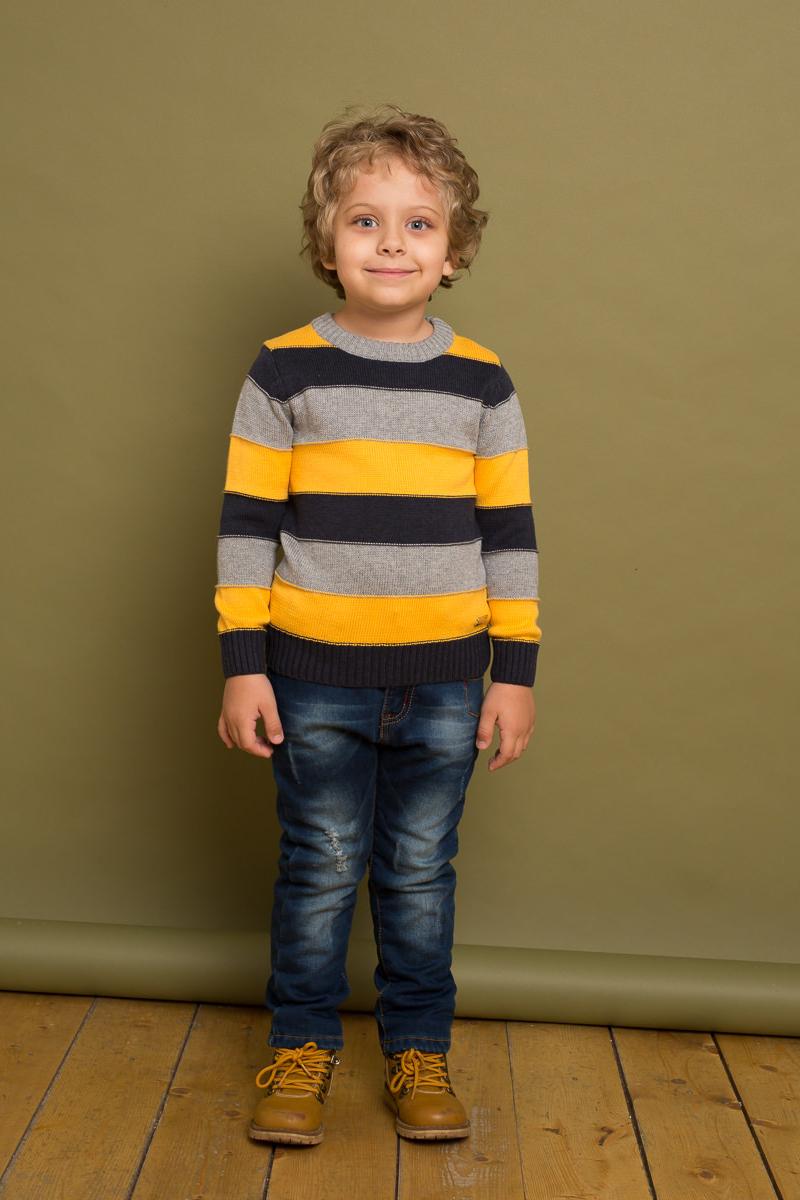 Джемпер для мальчика Sweet Berry, цвет: серый, черный, желтый. 733050. Размер 116733050Классический вязаный джемпер для мальчика от Sweet Berry в полоску выполнен из хлопковой пряжи. Модель с длинными рукавами и круглым вырезом горловины.