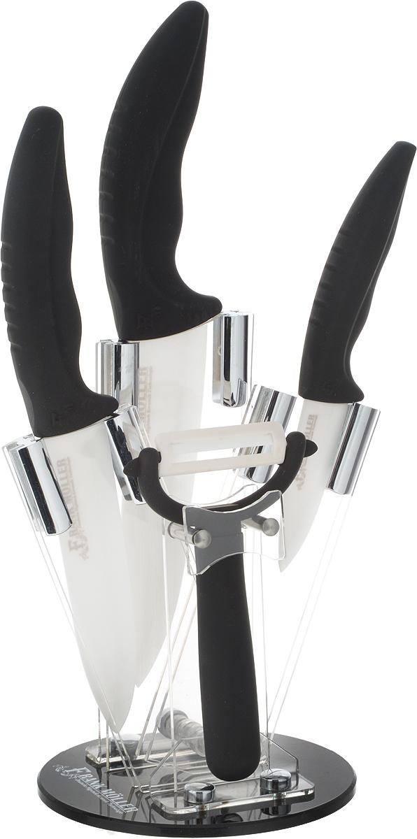 Набор керамических ножей Frank Moller Helga, на подставке, цвет: черный, белый, 5 предметов