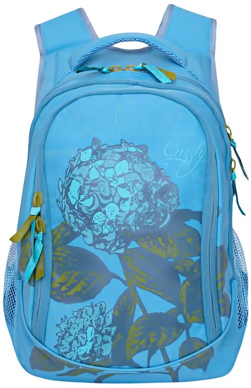 Рюкзак молодежный женский Grizzly, цвет: голубой, 13,5 л. RD-752-2/4RD-752-2/4Женский рюкзак Grizzly изготовлен из полиэстера и имеет три главных отделения, закрывающиеся застежки-молнии, два боковых кармана из сетки, внутренний карман-пенал для карандашей.Рюкзак с укрепленной спинкой оснащен двумя широкими мягкими лямками регулируемой длины и удобной короткой ручкой.