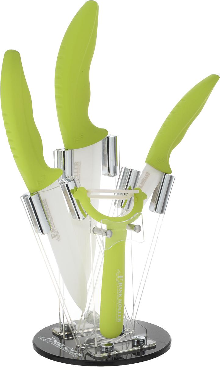 Набор керамических ножей Frank Moller Helga , на подставке, 5 предметов, цвет: салатовый. FM-373FM-373Набор керамических ножей Frank Moller состоит из поварского ножа, универсального ножа, ножа для чистки Овощей, овощечистки и подставки. Лезвия ножей выполнены из высококачественной керамики. Керамические ножи не подвергаются коррозии и не придают металлического привкуса или запаха, а также сохраняют свежесть продуктов. Режущая кромка лезвий устойчива к притуплению. Рукоятки ножей и ручка овощечистки эргономичной формы выполнены из пластика с прорезиненным покрытием. Специальный дизайн рукояток обеспечивает комфортный и легко контролируемый захват.В комплект входит удобная пластиковая подставка.Длина лезвия поварского ножа: 14,5 см. Общая длина поварского ножа: 26,3см. Длина лезвия универсального ножа: 10 см. Общая длина универсального ножа: 20 см. Длина лезвия ножа для чистки овощей: 7 см. Общая длина ножа для чистки овощей: 17,3 см. Ширина лезвия овощечистки:4 смОбщая длина овощечистки: 12,7 смРазмер подставки: 12,3 х 18 х 12,3 см.