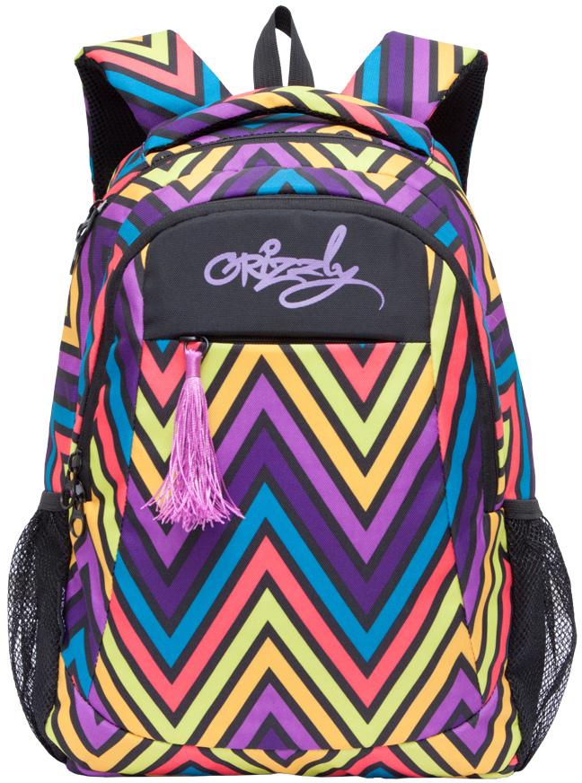Рюкзак молодежный женский Grizzly, цвет: фиолетовый, желтый, черный, 14 л. RD-741-1/2RD-741-1/2Женский рюкзак Grizzly изготовлен из полиэстера и имеет два главных отделения, закрывающиеся застежки-молнии, внутренний подвесной карман на молнии, внутренний составной пенал-органайзер, карман на молнии на передней стенке. Рюкзак с укрепленной спинкой оснащен двумя широкими мягкими лямками регулируемой длины и удобной короткой ручкой.