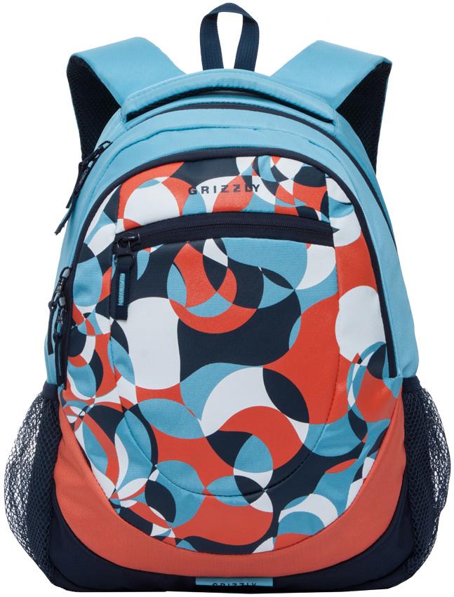 Рюкзак молодежный женский Grizzly, цвет: голубой, оранжевый, белый, 14 л. RD-751-1/1RD-751-1/1Женский рюкзак Grizzly изготовлен из полиэстера и имеет два главных отделения, закрывающиеся застежки-молнии, внутренний подвесной карман на молнии, внутренний составной пенал-органайзер, карман на молнии на передней стенке. Рюкзак с укрепленной спинкой оснащен двумя широкими мягкими лямками регулируемой длины и удобной короткой ручкой.