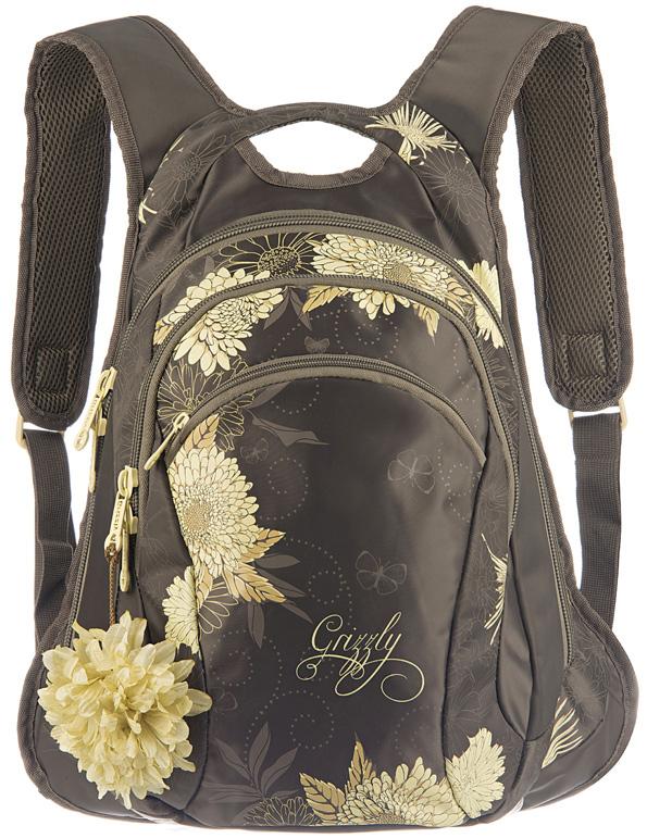 Рюкзак женский Grizzly, цвет: темно-оливковый, 10,5 л. RD-755-1/2RD-755-1/2Женский рюкзак Grizzly изготовлен из полиэстера и имеет два главных отделения, закрывающиеся застежки-молнии, карман на молнии на передней стенке, внутренний карман-пенал для карандашей. Рюкзак с анатомической спинкой оснащен двумя широкими мягкими лямками регулируемой длины и удобной короткой ручкой.