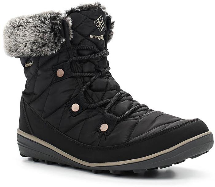 Ботинки женские Columbia Heavenly Shorty Omni-Heat, цвет: черный. 1691541-010. Размер 7 (37,5)1691541-010Женские ботинки Heavenly Shorty Omni-Heat от Columbia выполнены из высококачественного комбинированного материала с технологией Omni-Tech, которая защищает обувь от осадков. Подкладка с технологией Omni-Heat сохранит ваши ноги в тепле. Утеплитель Insulated плотностью 200 гр. не позволит ногам замерзнуть. Подкладка в верхней части голенища выполнена из искусственного меха. Шнуровка надежно фиксирует модель на ноге. Подошва выполнена из гибкого, легкого материала обладающего отличной амортизацией. Подметка с технологией Omni-Grip со специальным рисунком протектора обеспечит надежное сцепление на любых зимних поверхностях. Верх ботинок декорирован вышитым логотипом бренда и отделкой из искусственного меха.