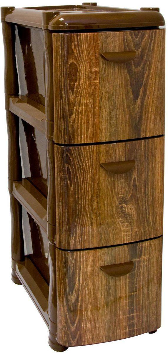 Комод Idea Альт Деко. Дерево, 3 секции, 26,2 х 50,2 х 74 смМ 2807Комод Idea Альт Деко изготовлен из высококачественного пластика. Ящики стилизованы под дерево. Комод предназначен для хранения различных вещей и состоит из 3 вместительных выдвижных секций. Такой необычный комод надежно защитит вещи от загрязнений, пыли и моли, а также позволит вам хранить их компактно и с удобством.Размер комода: 26,2 х 50,2 х 74 см.