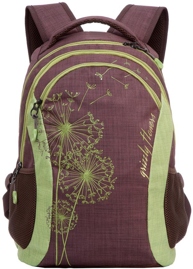 Рюкзак женский Grizzly, цвет: коричневый, 12,5 л. RD-636-1/1RD-636-1/1Женский рюкзак Grizzly изготовлен из полиэстера и имеет два главных отделения, закрывающиеся застежки-молнии, карман на молнии на передней стенке, боковые карманы из сетки, внутренний карман на молнии, внутренний составной пенал-органайзер. Рюкзак с анатомической спинкой оснащен двумя широкими мягкими лямками регулируемой длины и удобной короткой ручкой.