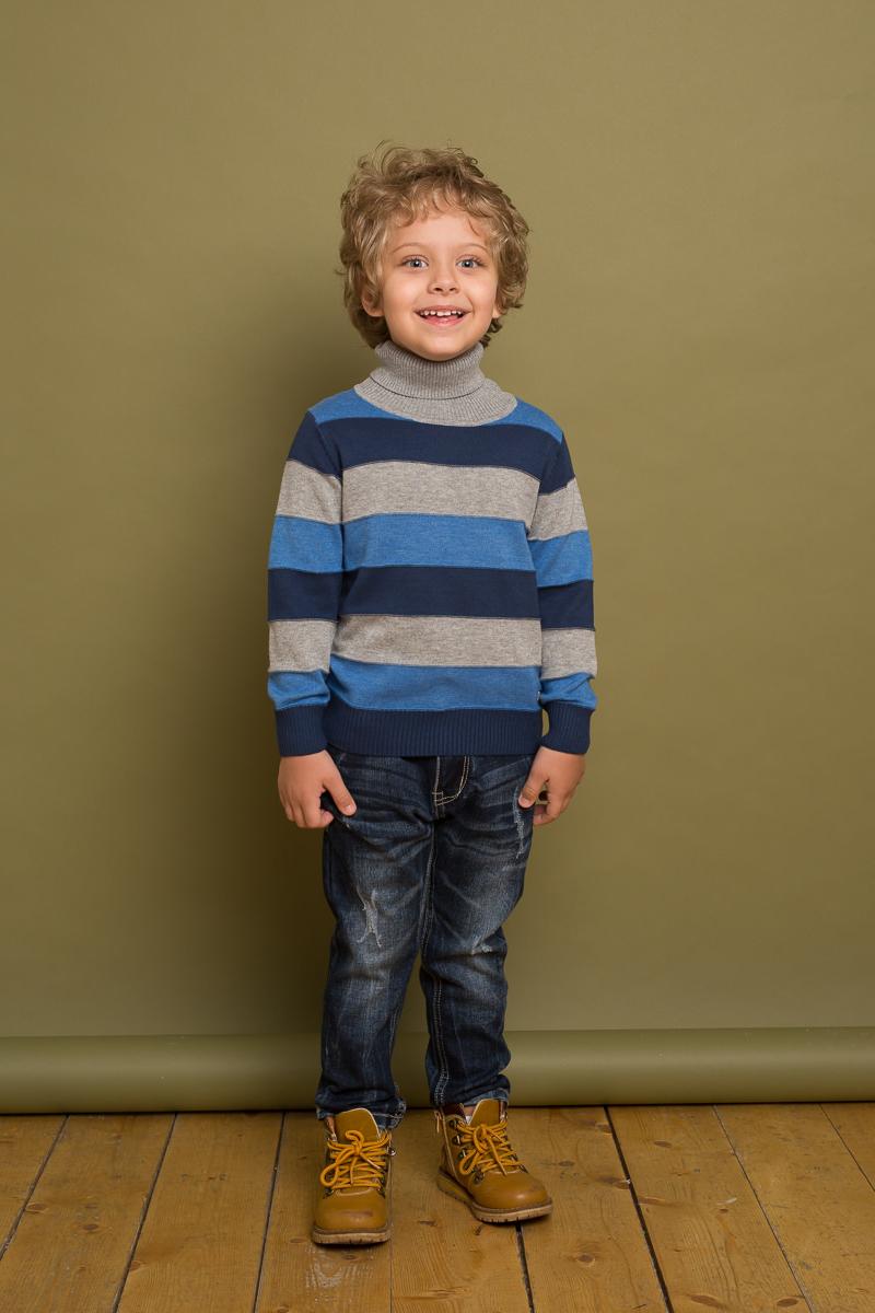 Свитер для мальчика Sweet Berry, цвет: синий, серый. 733051. Размер 104733051Классический вязаный свитер от Sweet Berry для мальчика выполнен из меланжевой пряжи в полоску. Модель с длинными рукавами и воротником-гольф.