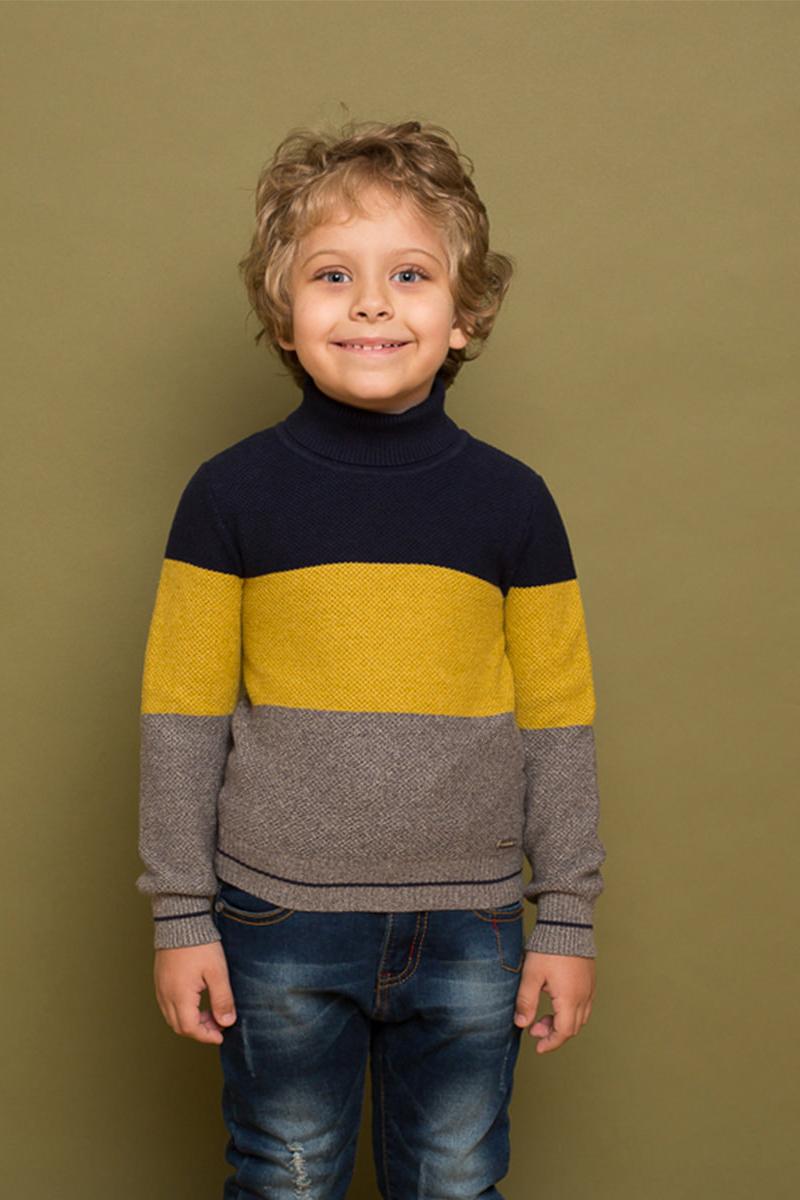 Водолазка для мальчика Sweet Berry, цвет: мультиколор. 733049. Размер 128733049Стильная вязанная водолазка в полоску для мальчика с длинным рукавом. Горловина, манжеты и низ изделия декорированы контрастной окантовкой.