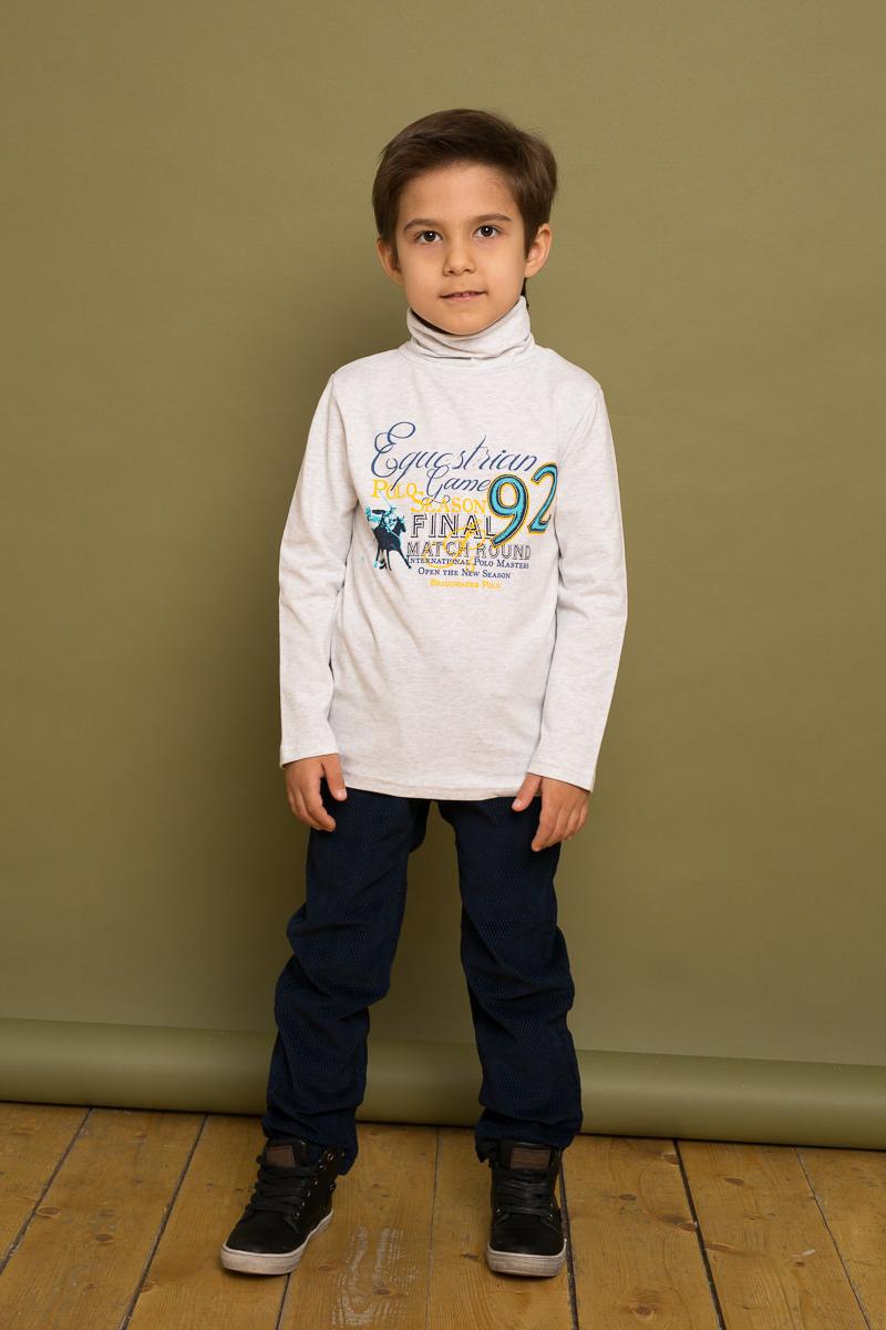 Водолазка для мальчика Sweet Berry, цвет: светло-серый. 733064. Размер 116733064Трикотажная водолазка для мальчика от Sweet Berry, декорированная оригинальным принтом, выполнена из мягкого хлопкового полотна. Модель с длинными рукавами и воротником-гольф.