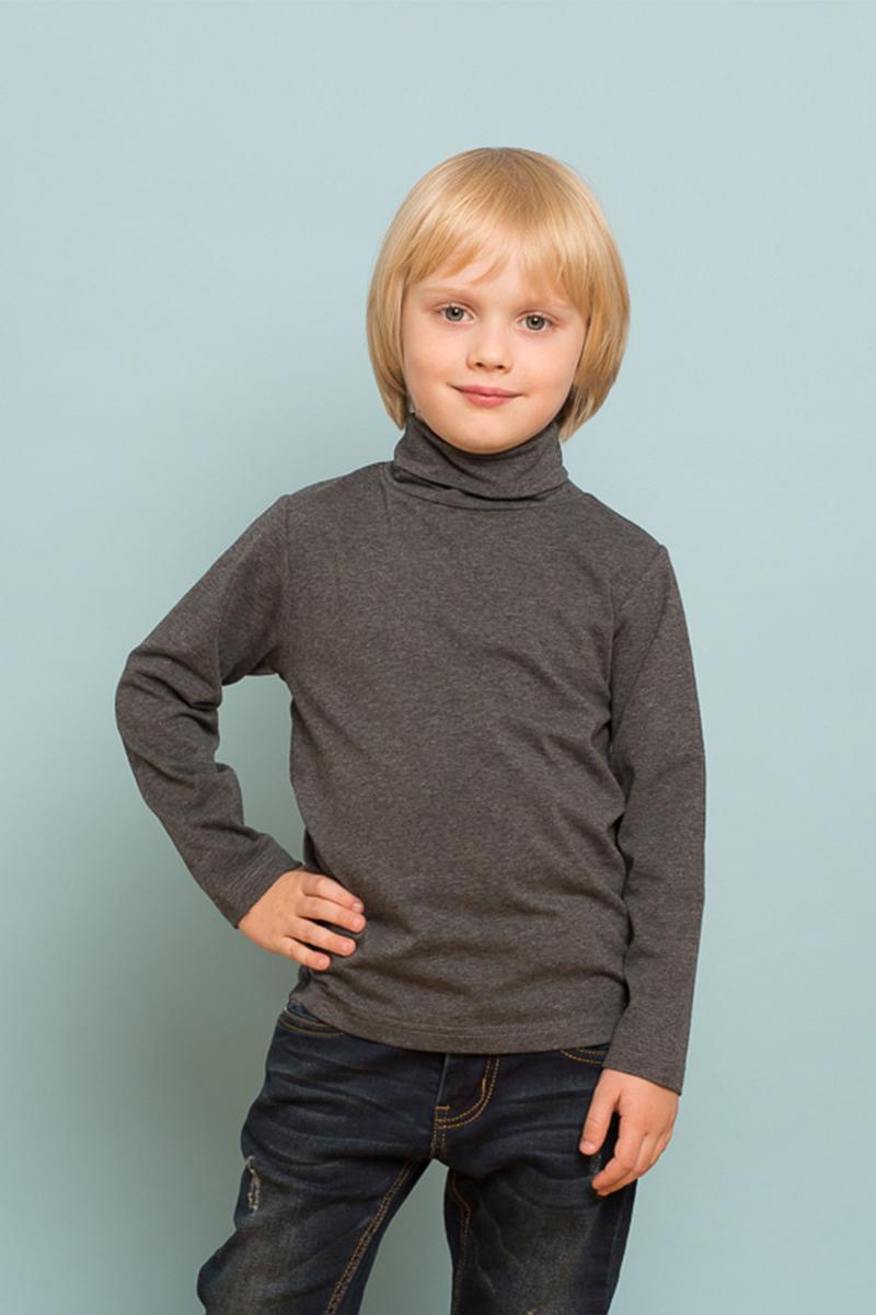 Водолазка для мальчика Sweet Berry, цвет: темно-серый. 733121. Размер 128733121Классическая трикотажная водолазка для мальчика от Sweet Berry выполнена из мягкого хлопкового полотна. Модель с длинными рукавами и воротником-гольф.
