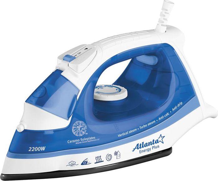 Atlanta ATH-483, Blue утюг77.858@21135Утюг Atlanta ATH-483 выполнен в современном дизайне.Утюг имеет сухой или паровой режим глажения, противокапельную систему и систему защиты от накипи, функцию вертикального пара и увлажнения. Прозрачный резервуар для воды дает возможность следить за ее расходом. Ручка выполнена с противоскользящим покрытием. Долговечная керамическая подошва устойчива к царапинам и повреждениям. Утюг имеет индикатор нагрева.Утюг Atlanta ATH-483 - лучший выбор для активного использования.