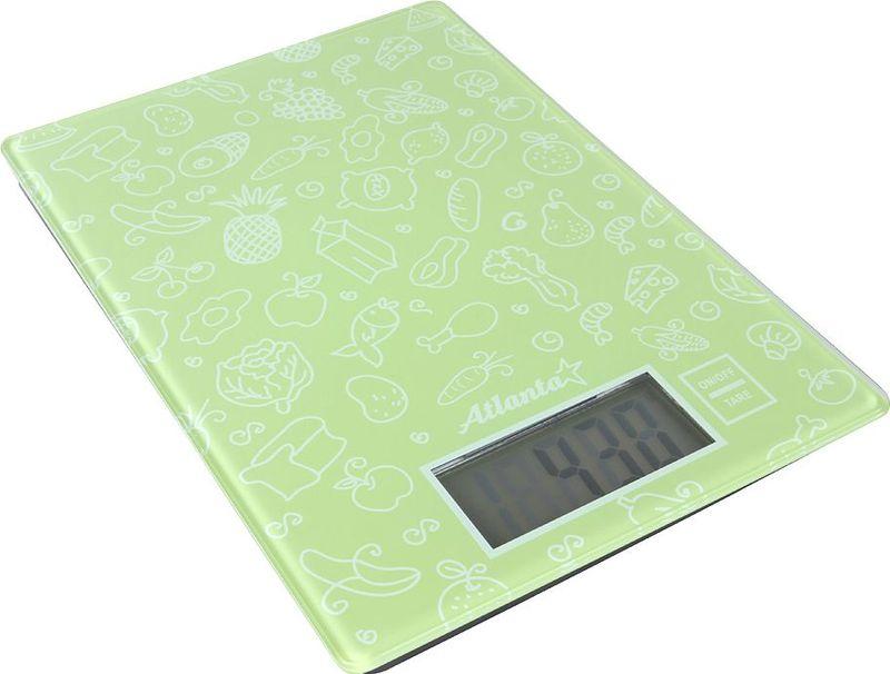 Atlanta ATH-6214, Green весы кухонные77.858@27156Кухонные электронные весы Atlanta ATH-6214 - незаменимые помощники современной хозяйки. Они помогутточно взвесить любые продукты и ингредиенты. Кроме того, позволят людям, соблюдающим диету,контролировать количество съедаемой пищи и размеры порций. Предназначены для взвешивания продуктов сточностью измерения 1 грамм.