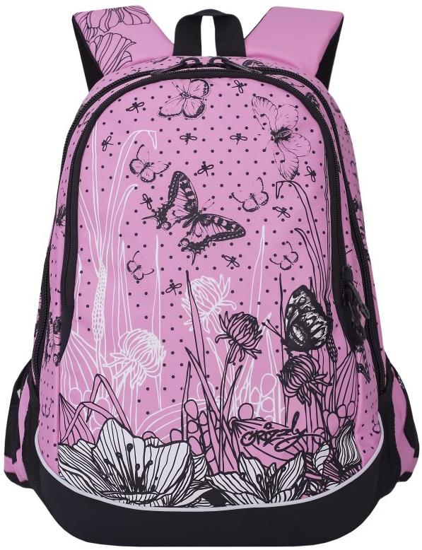 Рюкзак женский Grizzly, цвет: розовый, черный, 13 л. RD-756-3/2RD-756-3/2Женский рюкзак Grizzly изготовлен из полиэстера и имеет два главных отделения, закрывающиеся застежки-молнии, боковые карманы из сетки, внутренний карман-пенал для карандашей. Рюкзак с анатомической спинкой оснащен двумя широкими мягкими лямками регулируемой длины и удобной короткой ручкой.