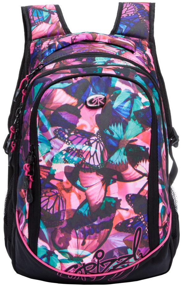Рюкзак женский Grizzly, цвет: черный, розовый, 13,5 л. RD-635-1/5RD-635-1/5Женский рюкзак Grizzly изготовлен из полиэстера и имеет два главных отделения, закрывающиеся застежки-молнии, боковые карманы из сетки, внутренний карман на молнии, внутренний карман-пенал для карандашей. Рюкзак с анатомической спинкой оснащен двумя широкими мягкими лямками регулируемой длины и удобной короткой ручкой.