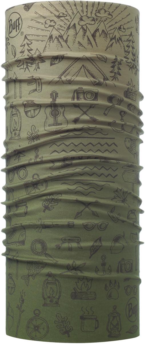Бандана Buff Original, цвет: хаки. 115216.846.10.00. Размер универсальный115216.846.10.00Бандана Buff Original - это оригинальный, мультифункциональный, бесшовный головной убор - удобный и комфортный для любого вида активного отдыха и спорта. Оригинальный, потому что Buff был и является первым в мире брендом мультифункциональных, бесшовных и универсальных головных уборов. Мультифункциональный, потому что их можно носить самыми разными способами: как шарф, как шапку, как балаклаву, косынку, бандану, маску, напульсник и многими другими - решает Ваша фантазия! Универсальный головной убор, который можно носить более чем двенадцатью способами, который можно использовать при занятии любым видом спорта, езде на велосипеде и мотоцикле, катаясь или бегая на лыжах, и даже как аксессуар в городской одежде. Бесшовный, благодаря эластичности, позволяющей использовать эти головные уборы как угодно и не беспокоиться о том, что кожа может быть натерта или раздражена швами.