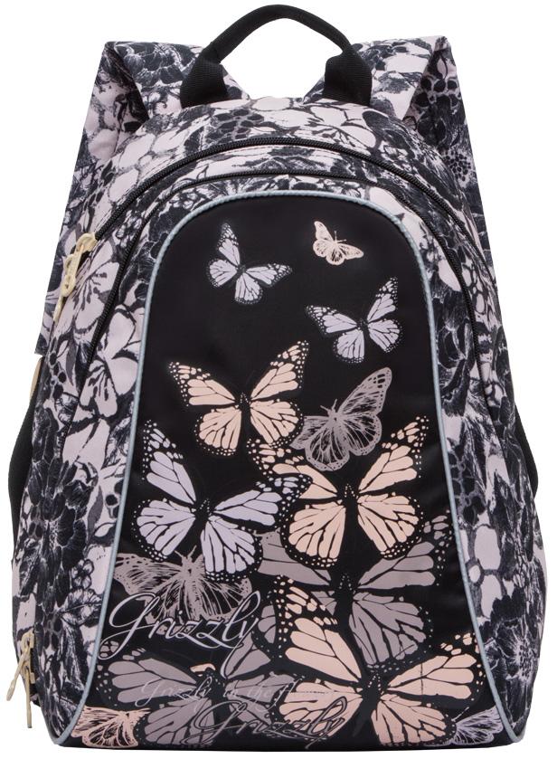 Рюкзак молодежный женский Grizzly, цвет: светло-розовый, черный, 11 л. RD-756-4/2RD-756-4/2Женский рюкзак Grizzly изготовлен из полиэстера и имеет два главных отделения, закрывающиеся застежки-молнии, внутренний карман-пенал для карандашей.Рюкзак с анатомической спинкой оснащен двумя широкими мягкими лямками регулируемой длины и удобной короткой ручкой.