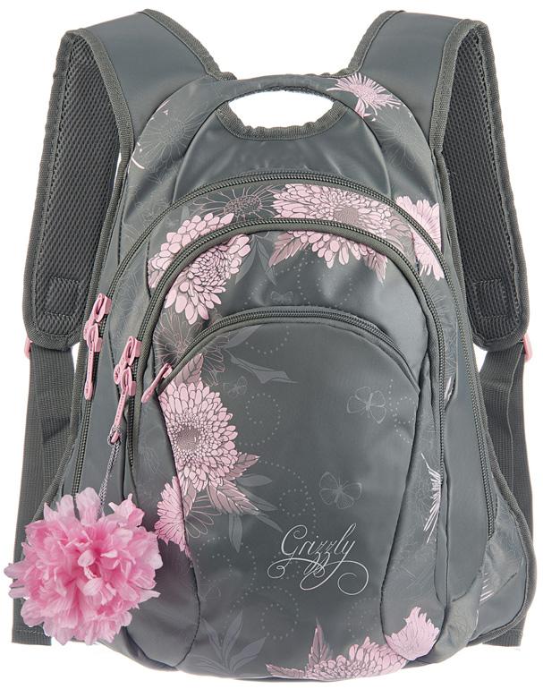 Рюкзак молодежный женский Grizzly, цвет: серый, 10,5 л. RD-755-1/3RD-755-1/3Женский рюкзак Grizzly изготовлен из полиэстера и имеет два главных отделения, закрывающиеся застежки-молнии, карман на молнии на передней стенке, внутренний карман-пенал для карандашей. Рюкзак с анатомической спинкой оснащен двумя широкими мягкими лямками регулируемой длины и удобной короткой ручкой.