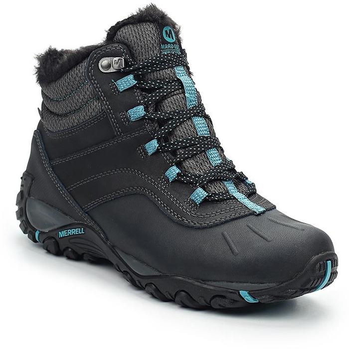 Ботинки женские Merrell Atmost Mid Wtpf, цвет: черный, голубой. 324906C. Размер 9 (40.5)324906CУтепленные женские ботинки Merrell отлично подойдут для путешествий в холодное время года. Модель, выполненная из высококачественных материалов, дополнена контрастной прострочкой и на язычке фирменной нашивкой. Верх обуви оформлен меховой опушкой. Классическая шнуровка надежно зафиксирует изделие на ноге. Стелька из текстиля и подкладка из синтетического меха, не дадут ногам замерзнуть. Нейлоновый супинатор поддерживает свод стопы. Подошва с рифлением обеспечивает отличное сцепление на любой поверхности. В таких ботинках вашим ногам будет уютно и комфортно.