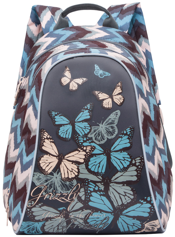 Рюкзак молодежный женский Grizzly, цвет: мультиколор, 11 л. RD-756-4/4RD-756-4/4Женский рюкзак Grizzly изготовлен из полиэстера и имеет два главных отделения, закрывающиеся застежки-молнии, внутренний карман-пенал для карандашей. Рюкзак с анатомической спинкой оснащен двумя широкими мягкими лямками регулируемой длины и удобной короткой ручкой.