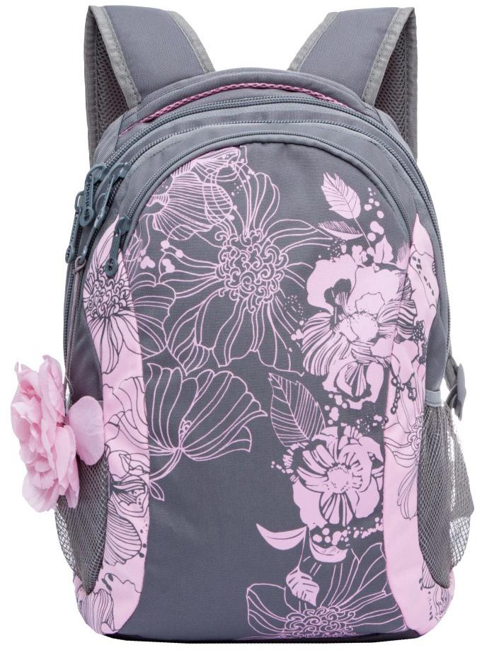 Рюкзак молодежный женский  Grizzly , цвет: серый, розовый, 12,5 л. RD-755-2/2 - Рюкзаки