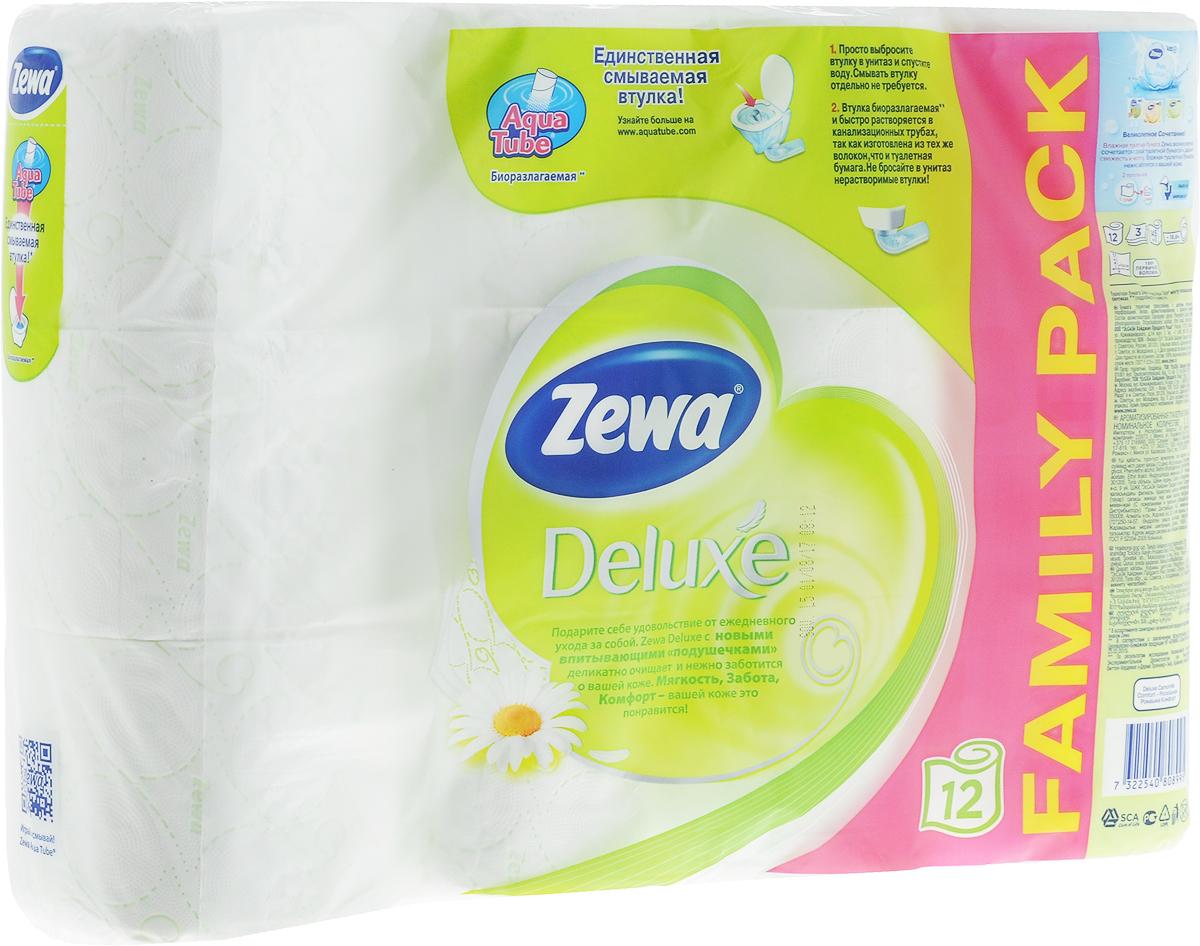 Бумага туалетная Zewa Deluxe Camomile Comfort, трехслойная, 12 рулонов53613Трехслойная туалетная бумага с впитывающими подушечками и нежным ароматом ромашки.Подарите себе удовольствие от ежедневного ухода за собой.