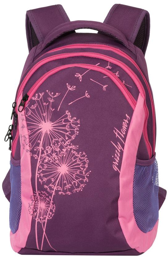 Рюкзак молодежный женский Grizzly, цвет: сливовый, 12,5 л. RD-636-1/3RD-636-1/3Женский рюкзак Grizzly изготовлен из полиэстера и имеет два главных отделения, закрывающиеся на застежки-молнии, карман на молнии на передней стенке, боковые карманы из сетки, внутренний карман на молнии, внутренний составной пенал-органайзер. Рюкзак с жесткой объемной спинкой оснащен двумя широкими мягкими лямками регулируемой длины и удобной короткой ручкой.