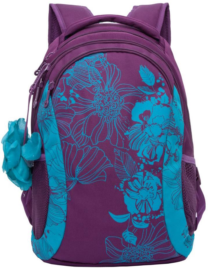 Рюкзак молодежный женский Grizzly, цвет: фиолетовый, голубой, 12,5 л. RD-755-2/3RD-755-2/3Женский рюкзак Grizzly изготовлен из полиэстера и имеет два главных отделения, закрывающиеся на застежки-молнии, карман на молнии на передней стенке, боковые карманы из сетки, внутренний карман на молнии, внутренний составной пенал-органайзер. Рюкзак с жесткой объемной спинкой оснащен двумя широкими мягкими лямками регулируемой длины и удобной короткой ручкой.