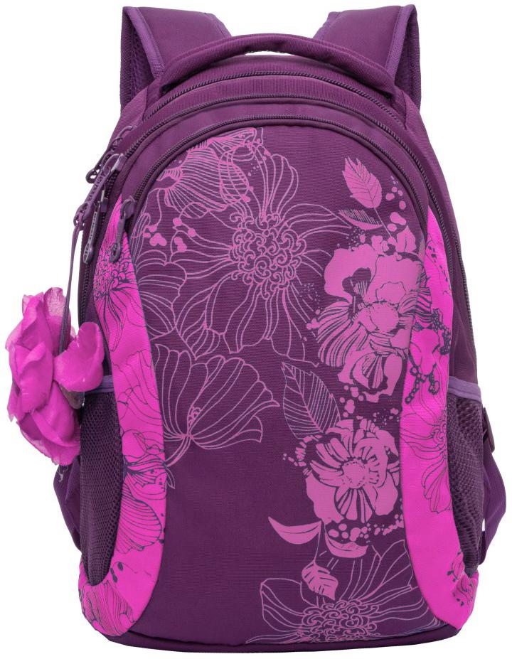 Рюкзак молодежный женский Grizzly, цвет: фиолетовый, 12,5 л. RD-755-2/4RD-755-2/4Женский рюкзак Grizzly изготовлен из полиэстера и имеет два главных отделения, закрывающиеся на застежки-молнии, карман на молнии на передней стенке, боковые карманы из сетки, внутренний карман на молнии, внутренний составной пенал-органайзер. Рюкзак с анатомической спинкой оснащен двумя широкими мягкими лямками регулируемой длины и удобной короткой ручкой.