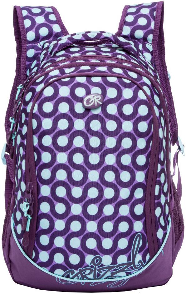 Рюкзак молодежный женский Grizzly, цвет: фиолетовый, 13,5 л. RD-635-1/10RD-635-1/10Рюкзак молодежный, три отделения, боковые карманы из сетки, внутренний карман на молнии, внутренний составной пенал-органайзер, укрепленная спинка, мягкая укрепленная ручка, укрепленные лямки