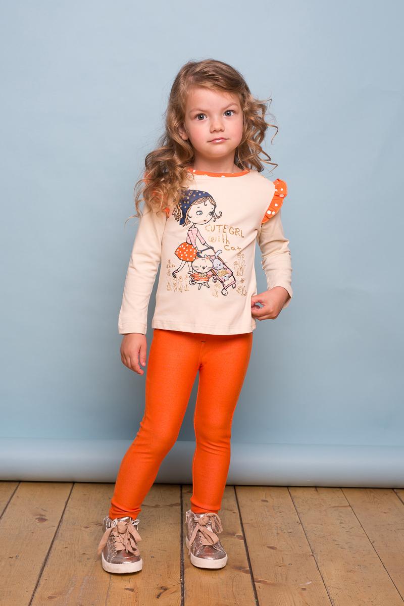 Брюки для девочки Sweet Berry Baby, цвет: оранжевый. 732073. Размер 98732073Яркие брюки-джеггинсы Sweet Berry Baby для девочки выполнены из мягкого трикотажного полотна. Два накладных кармана расположены сзади. Мягкий контрастный эластичный пояс дополнен шлевками.