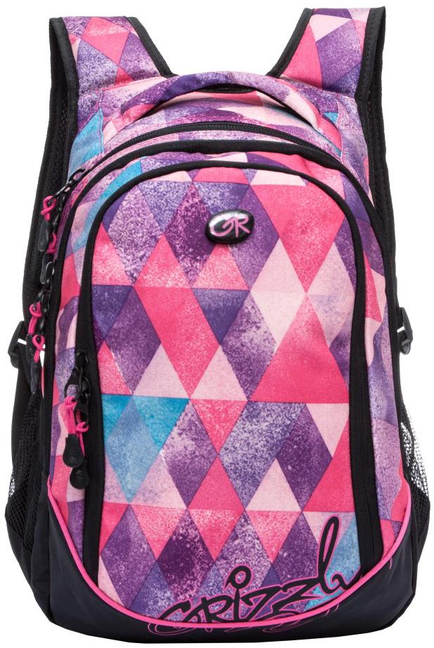 Рюкзак молодежный женский Grizzly, цвет: фиолетовый, розовый, черный, 13,5 л. RD-635-1/7RD-635-1/7Женский рюкзак Grizzly изготовлен из полиэстера и имеет три главных отделения, закрывающиеся на застежки-молнии, боковые карманы из сетки, внутренний карман на молнии, внутренний составной пенал-органайзер. Рюкзак с анатомической спинкой оснащен двумя широкими мягкими лямками регулируемой длины и удобной короткой ручкой.