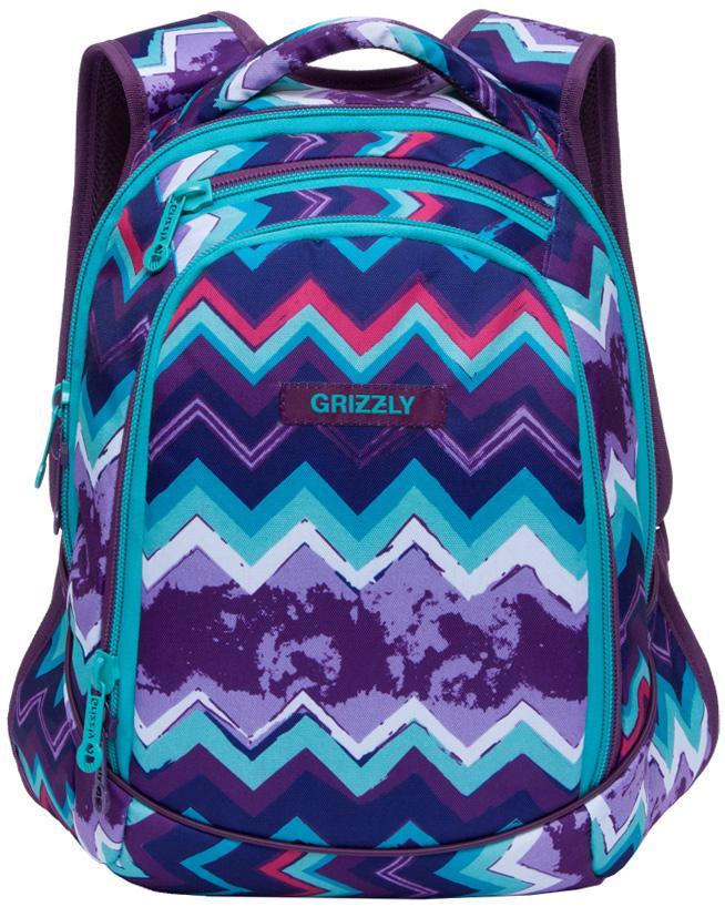 Рюкзак молодежный женский Grizzly, цвет: фиолетовый, голубой, 14,5 л. RD-756-1/2RD-756-1/2Женский рюкзак Grizzly изготовлен из полиэстера и имеет три главных отделения, закрывающиеся на застежки-молнии, внутренний карман на молнии, внутренний карман-пенал для карандашей. Рюкзак с анатомической спинкой оснащен двумя широкими мягкими лямками регулируемой длины и удобной короткой ручкой.