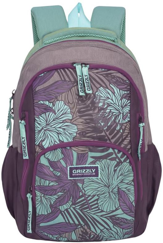 Рюкзак молодежный женский Grizzly, цвет: фиолетовый, зеленый, 15,5 л. RD-754-1/2RD-754-1/2Женский рюкзак Grizzly изготовлен из полиэстера и имеет три главных отделения, закрывающиеся на застежки-молнии, объемный карман на молнии на передней стенке, боковые карманы на резинке, внутренний карман для планшета, внутренний карман на молнии, внутренний составной пенал-органайзер. Рюкзак с анатомической спинкой оснащен двумя широкими мягкими лямками регулируемой длины и удобной короткой ручкой.