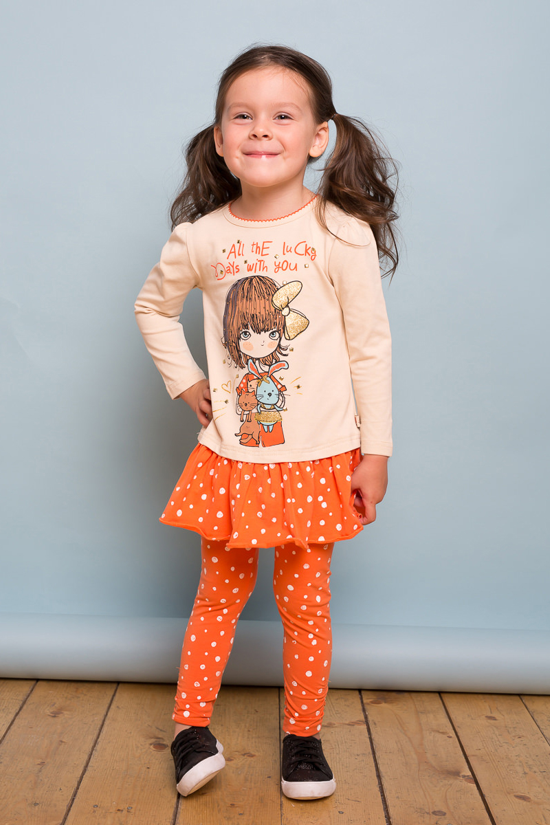 Леггинсы для девочки Sweet Berry Baby, цвет: оранжевый. 732074. Размер 92732074Яркие лосины для девочки выполнены из трикотажного полотна с оригинальным принтом. Эластичный пояс.