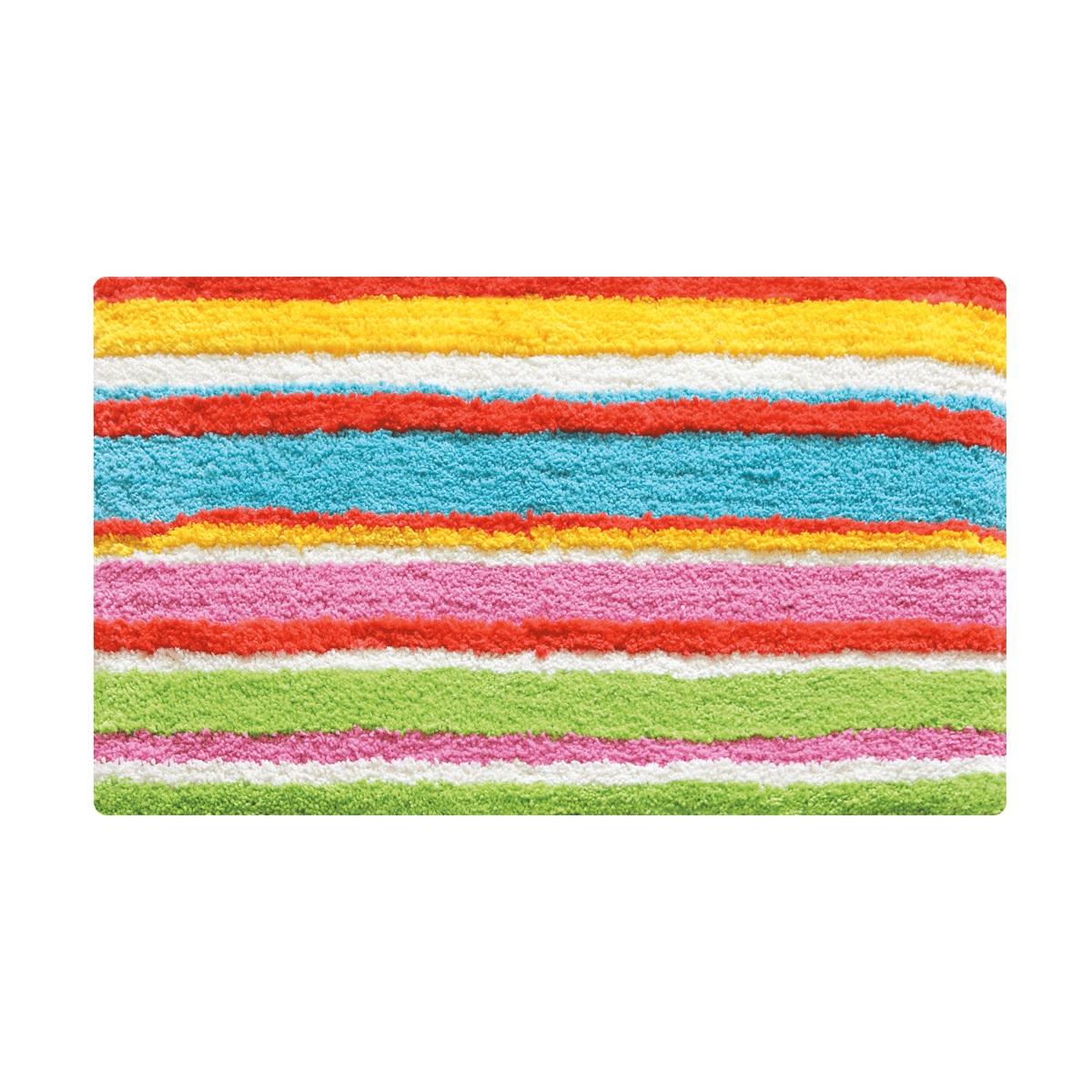 Коврик для ванной Iddis Summer Stripes, цвет: розовый, 50 х 80 см290M580i12Коврик для ванной комнаты Iddis выполнен из 100% полиэстера. Коврик имеет специальную латексную основу, благодаря которой он не скользит на напольных покрытиях в ванной, что обеспечивает безопасность во время использования. Коврик изготавливается по специальным технологиям машинного ручного тафтинга, что гарантирует высокое качество и долговечность.Высота ворса: 2,5 см.
