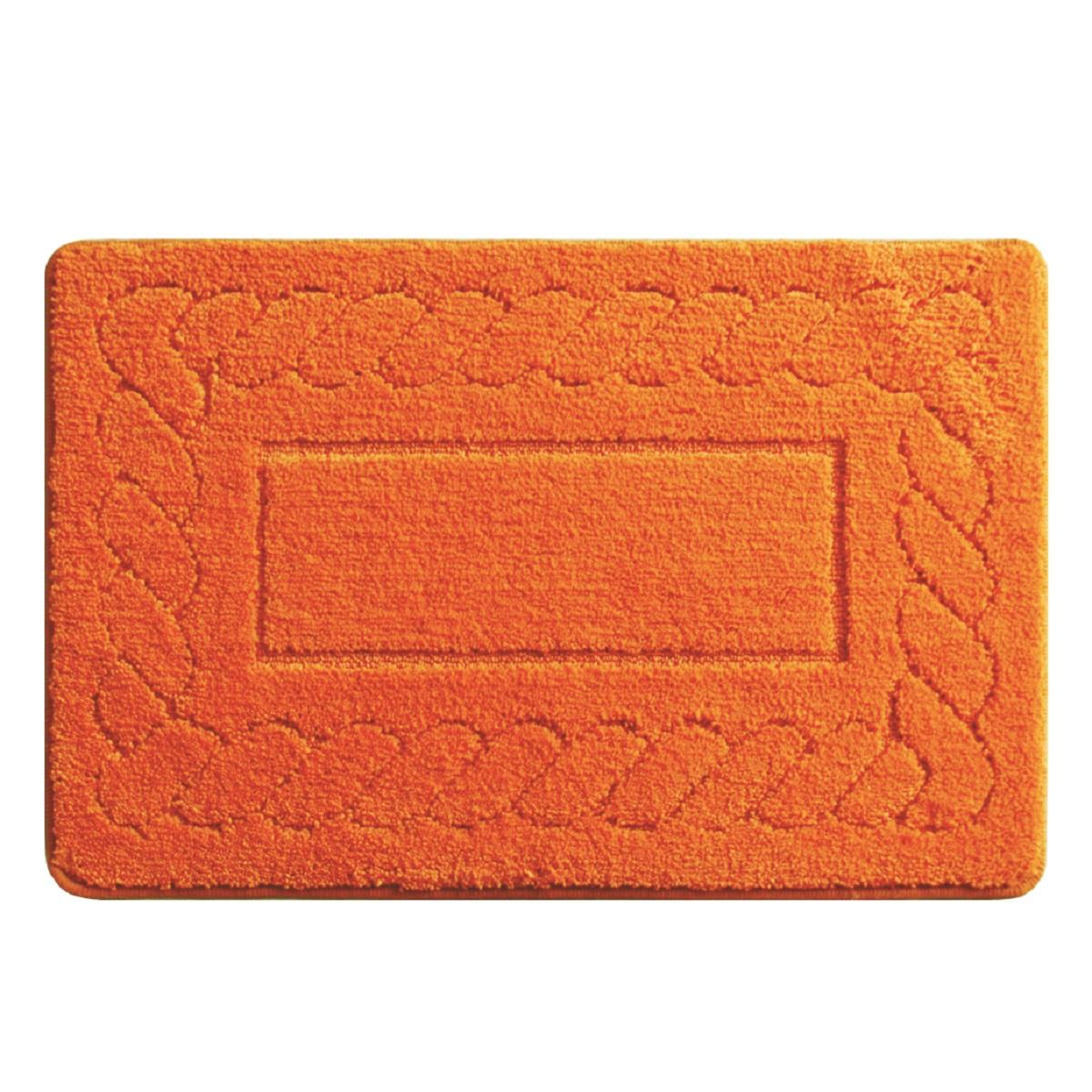 Коврик для ванной Milardo Clever Plait, цвет: оранжевый, 50 х 80 см320M580M12Коврик для ванной комнаты Milardo выполнен из микрофибры (100% полиэстер) на латексной основе. Коврик долго прослужит в вашем доме, добавляя тепло и уют, а также внесет неповторимый колорит в интерьер ванной комнаты.Высота ворса: 1,5 см.