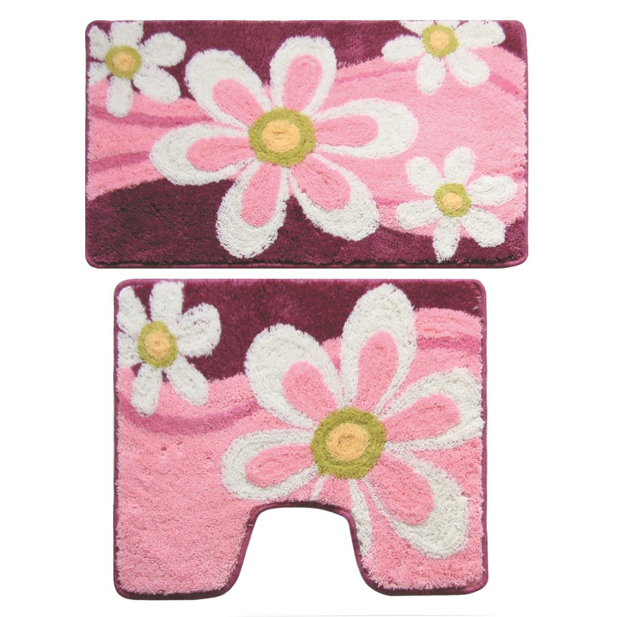 Комплект ковриков для ванной Milardo Merry Camomile, цвет: розовый, 2 шт360PA68M13Комплект Milardo Merry Camomile состоит из двух ковриков для ванной комнаты: прямоугольного и с вырезом. Изделия изготовлены из 90% полиэстера и 10% акрила. Благодаря специальной обработки нижней стороны, коврики не скользят на плитке. Яркий дизайн позволит оформить ванную комнату по вашему вкусу.Размер ковриков: 80 х 50 см; 50 х 50 см.Высота ворса: 1,5 см.