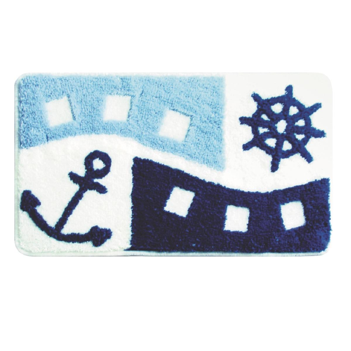 Коврик для ванной Milardo Sea Holiday, цвет: голубой, 40 х 70 см400A470M12100% Акриловый тканный коврик для ванной комнаты на латексной основе. Высота ворса 1.5см. Упаковка ПП пакет