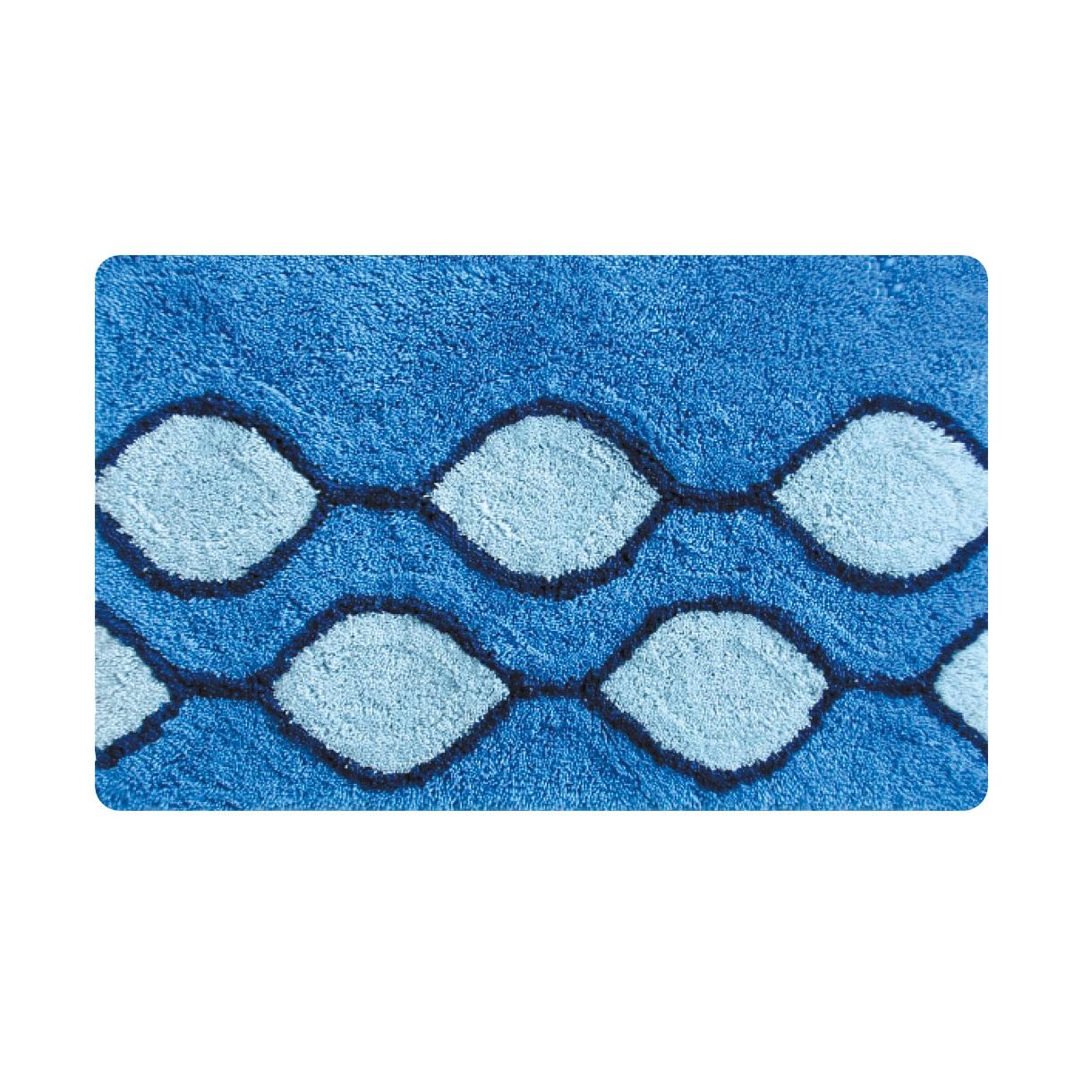 Коврик для ванной Iddis Curved Lines Blue, цвет: синий, 50 х 80 см штора для ванной iddis curved lines blue цвет голубой 200 x 200 см