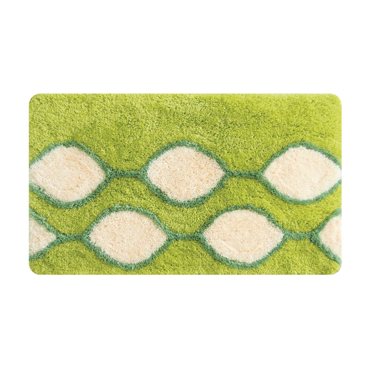 Коврик для ванной Iddis Curved Lines Green, цвет: зеленый, 50 х 80 см402A580I12100% акрил, тканный коврик для ванной комнаты на латексной основе. Высота ворса 2.5см. Упаковка ПП пакет